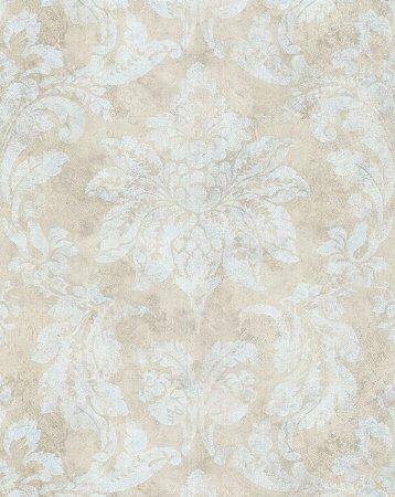 Papel de Parede Vitoriano Folhas e Flores Dourado e Branco SZ-003353