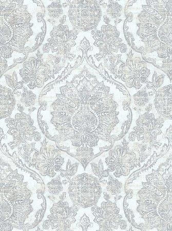 Papel de Parede Vitoriano Brasões Branco com Prata SZ-003321