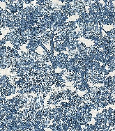 Papel de Parede Garden Estilo Floresta Azul Branco - SZ002724