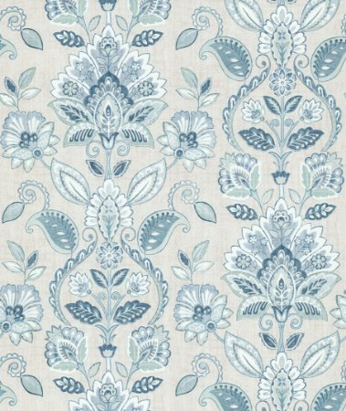 Papel de Parede Garden Brasões e Flores Azul e Branco - SZ002735