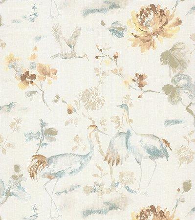 Papel de Parede Garden Garças e Flores Dourado e Creme - SZ003035