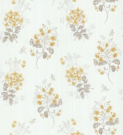 Papel de Parede Garden Ramos e Flores Dourado e Cinza - SZ002703