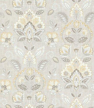 Papel de Parede Garden Brasões e Flores Dourado e Cinza - SZ002734