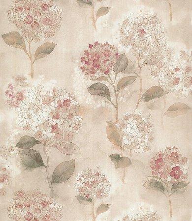 Papel de Parede Garden Flores e Folhas Rosê - SZ003012