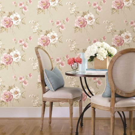 Papel de Parede Garden Flores Rosê e Branco - SZ002759