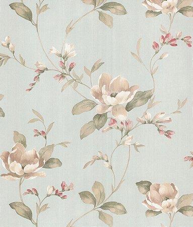 Papel de Parede Garden Flores e Ramos Bege e Verde Claro - SZ003045
