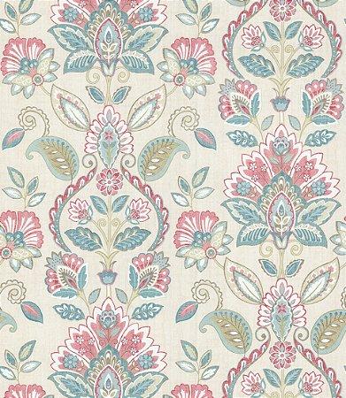 Papel de Parede Garden Brasões e Flores Verde e Rosa - SZ002733
