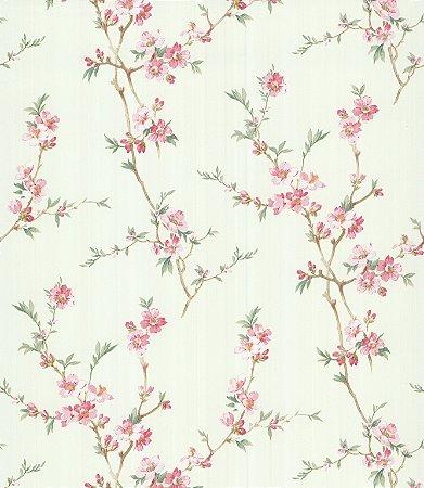 Papel de Parede Garden Ramos e Flores Rosa - SZ002774