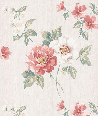 Papel de Parede Garden Flores Salmão e Branco - SZ002761