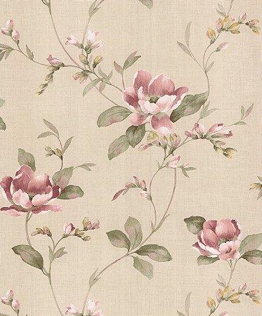 Papel de Parede Garden Flores e Ramos Rosê e Verde - SZ003044