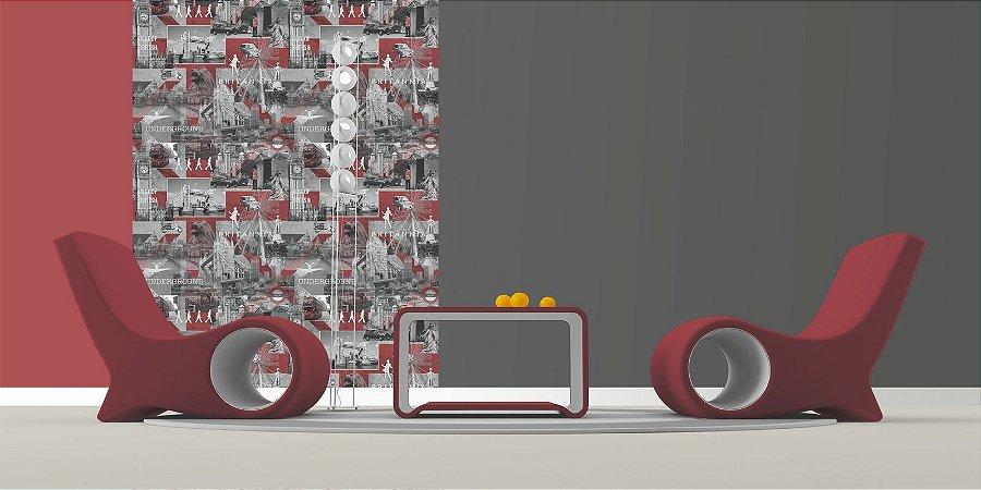 Papel de Parede Freestyle Patchwork London Vermelho, Preto e Branco - 102509