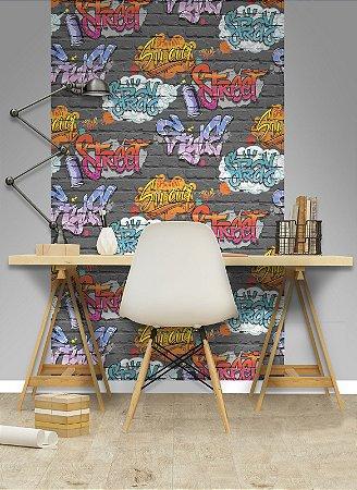 Papel de Parede Freestyle Estilo Tijolos com Grafites Fundo Grafite - L17901