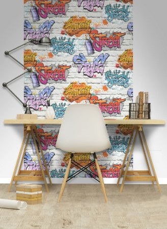 Papel de Parede Freestyle Estilo Tijolos com Grafites Fundo Cinza - L17905