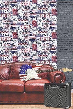 Papel de Parede Freestyle Estilo New York Bandeira Vermelha - L32401
