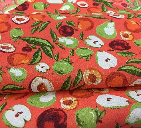Tecido Tricoline Chita Patchwork Frutas com Fundo Vermelho Gramado 100