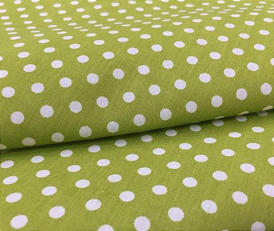 Tecido Tricoline Chita Patchwork Poa Verde e Branco Gramado 102