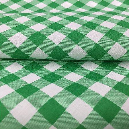Tecido Tricoline Chita Patchwork Xadrez Branco e Verde Gramado 105