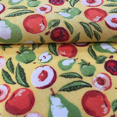 Tecido Tricoline Chita Patchwork Frutas com Fundo Amarelo Gramado 101