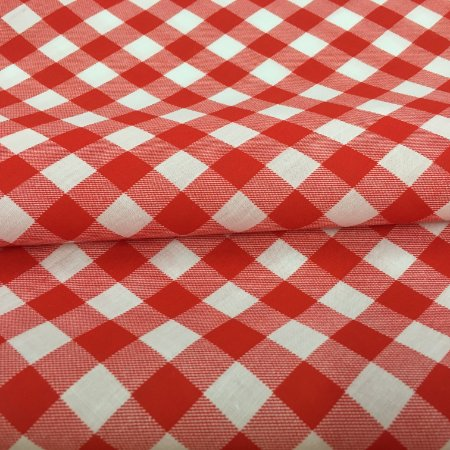 Tecido Tricoline Chita Patchwork Xadrez Branco e Vermelho Gramado 107