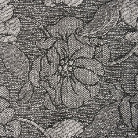 Tecido Jacquard Cinza Floral - Par 06