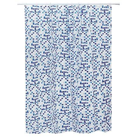 Cortina Para Box Eva Quadriculada Azul e Branca