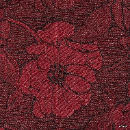 Tecido Jacquard Vermelho Floral - Par 40