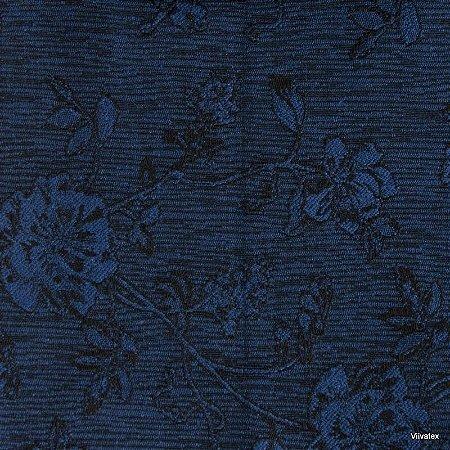 Tecido Jacquard Azul Rosas - Par 44