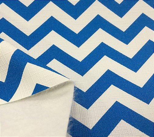 Tecido Corino PVC Carol Viana Chevron Azul Royal