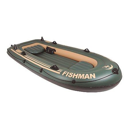 Barco Fishman Verde 400kg com 2 remos de alumínio, 4 pessoas e 1 mala