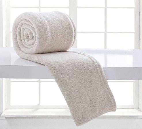 Manta Solteiro Branca Glacê Microfibra Corttex Home Design 2,00 x 1,50 mts