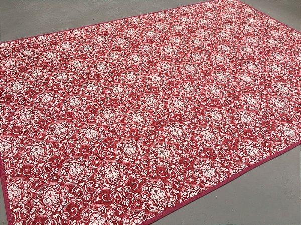 Tapete de Tecido Pop Brasões Vermelho e Branco 1,00 x 1,40 cm