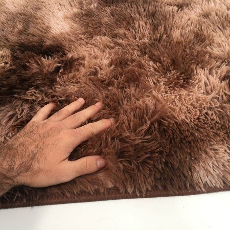 Tapete Estilo Shaggy ToroConfort Antiderrapante Marrom Claro Mesclado 1,50 x 2,00m