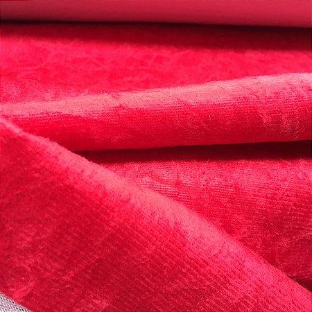 Tecido veludo amassado Vermelho Ferrari - 08