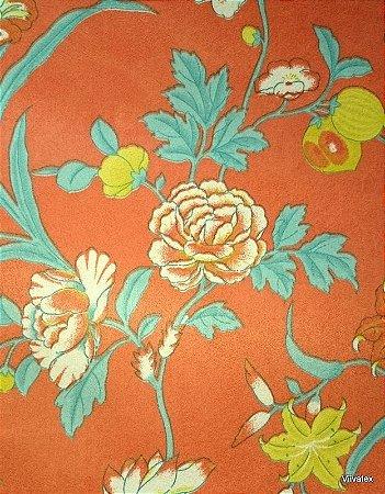 Tecido Suede Floral laranja e Amarelo - Esmeralda 04