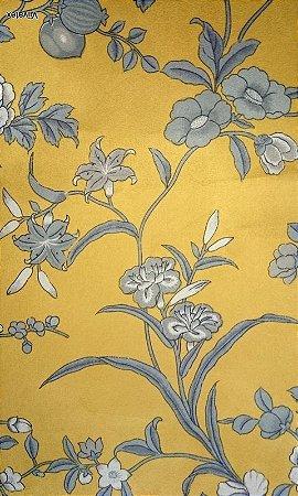 Tecido Suede Floral Dourado, Cinza, Creme - Esmeralda 16