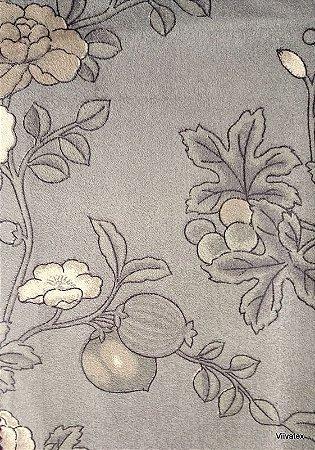 Tecido Suede Floral Cinzas e Creme - Esmeralda 32