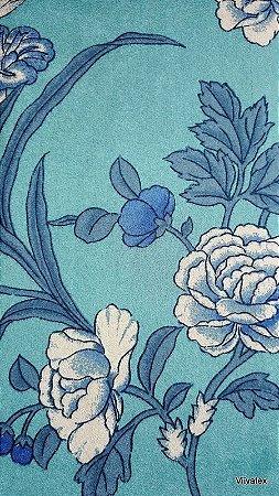 Tecido Suede Floral Azul Turquesa - Esmeralda 39