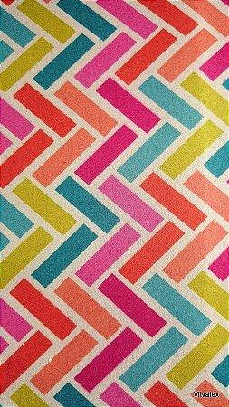 Tecido Suede Geometrico Turquesa, Lilas, Pink, Amarelo - Esmeralda 42