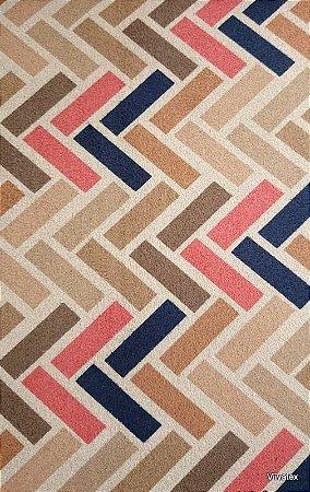 Tecido Suede Geometrico Bege, Azul e Vermelho - Esmeralda 48