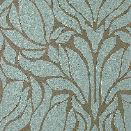 Papel de Parede Diamond Floral Verde Tifanny e Marrom - CA130204