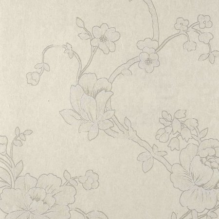 Papel de Parede Diamond Floral Creme com Cinza - DF650101
