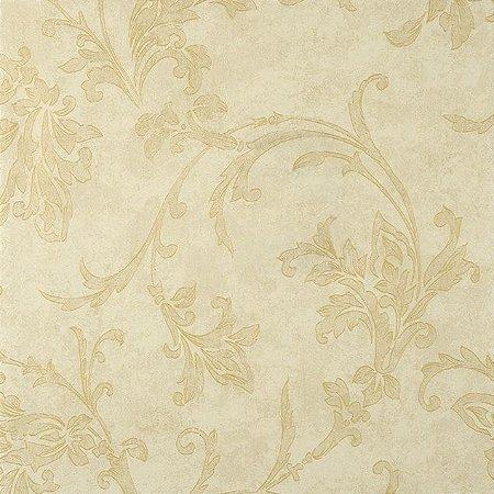 Papel de Parede Diamond Fundo Creme e Bege Floral em Bege e Brilho dourado - DF650502
