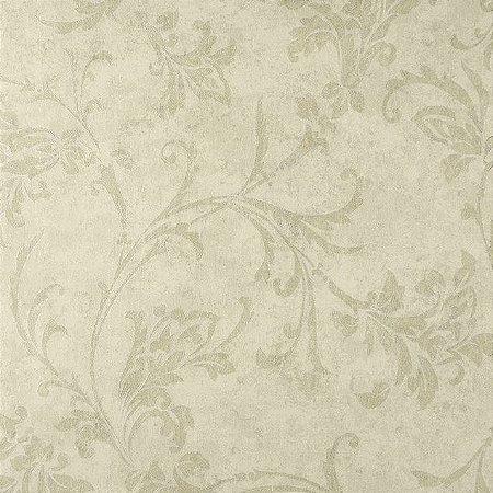 Papel de Parede Diamond Fundo Creme, Floral em Bege Claro com brilho - DF650501