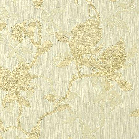 Papel de Parede Diamond Fundo Creme e Floral Bege Texturizado - PL10101