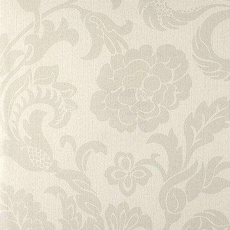 Papel de Parede Ruby, Floral Creme e Cimento Claro - JN610601