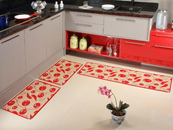 Jogo de Cozinha Pimentas em Sisal antiderrapante com 3 Peças - Vermelho e Bege