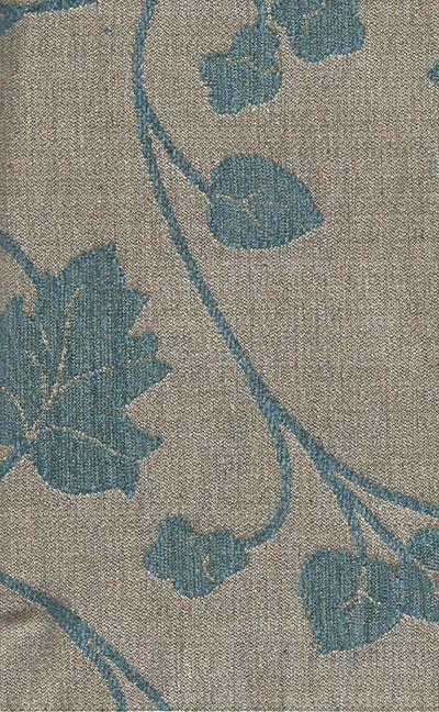 Tecido Chenille Viscose Bege com Floral Azul Claro - RUS 37