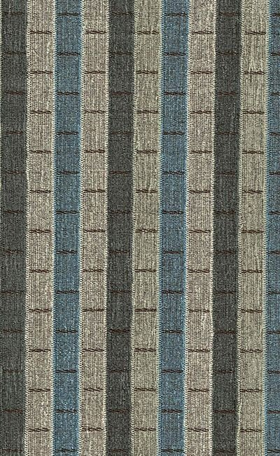 Tecido Chenille Viscose Listrado Marrom, Azul e Cinza - RUS 41
