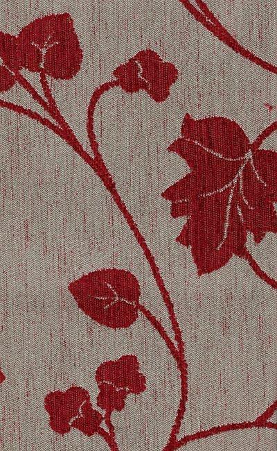 Tecido Chenille Viscose Bege com Floral Vermelho - RUS 45