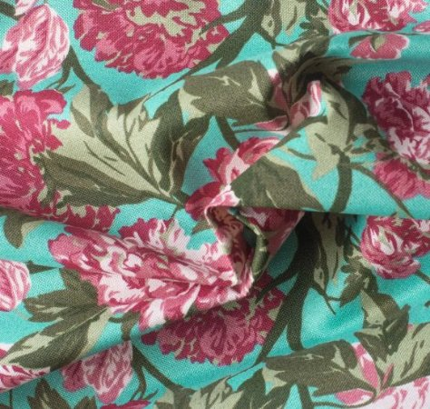 Tecido para Sofá e Estofado Impermeabilizado Vermelho, Musgo e Tiffany Floral  - AST- 12